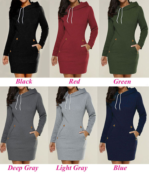 Fashion Long-Sleeved High-Necked Women Solid Color Sweater Hooded Dress