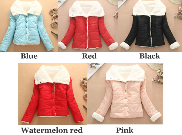 Lovely Warm Wool Cotton-padded Jacket/Short Coat