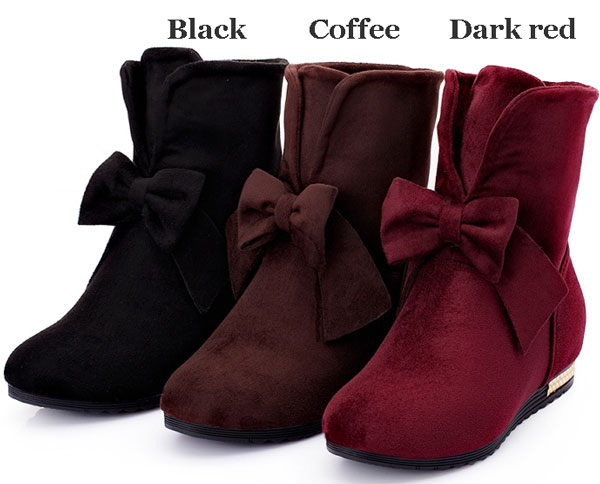 Cheap Pretty Suede Bowknot Knot Female Ankle Boots