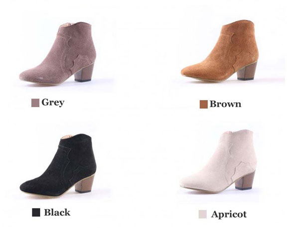 Casual Side Zipper Nubuck Leather Ankle Boots/Martin Boots