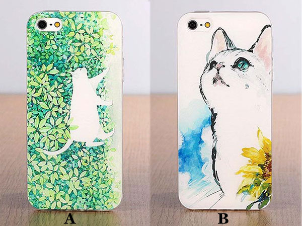Fresh Lovely Cat Cartoon Pattern Silicone Iphone 5/5s/5c/6/6s Cases
