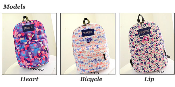 Lovely Lip Heart Print Girl Backpack