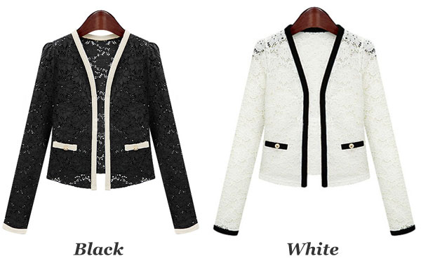Slim Lace Long Sleeve Coat Jacket Suit