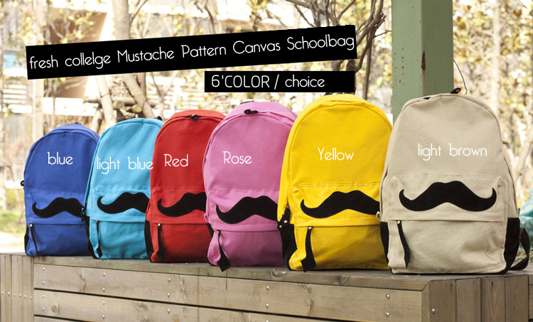 New Lovley Mustache Pattern Canvas Backpacks