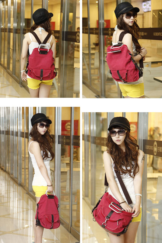 Fashion Multi-function Shoulder Bag &Canvas Backpack