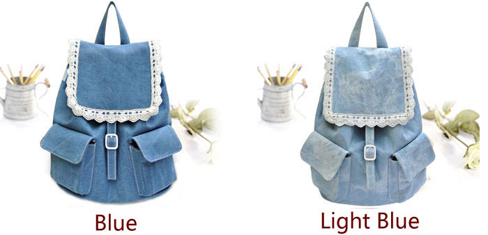 Lace Denim Lovely Mini College Grils Backpacks