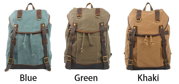 Retro Large Travel Laptop Rucksack Mental Buttons Leather Splicing Canvas Flap Outdoor Backpacks