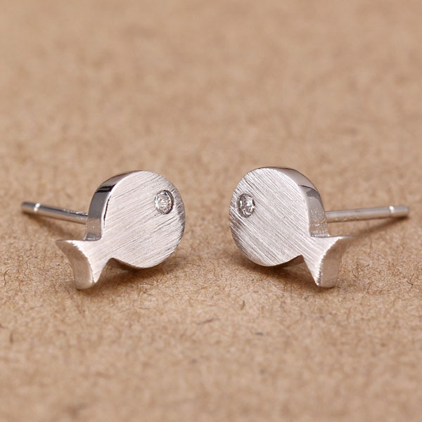 S925 Silver Fish Gold Plated Stud Earrings