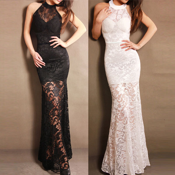 New Lace Halter Long Party Dresses