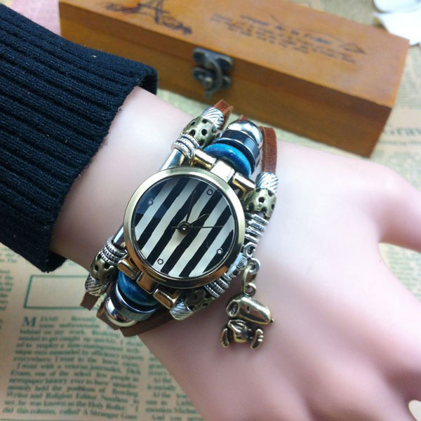 Striped Animal Charm Leather Bracelet Watch