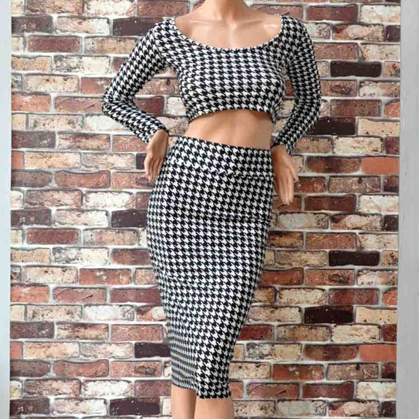 Classic Houndstooth Two Piece Dresses Skirts