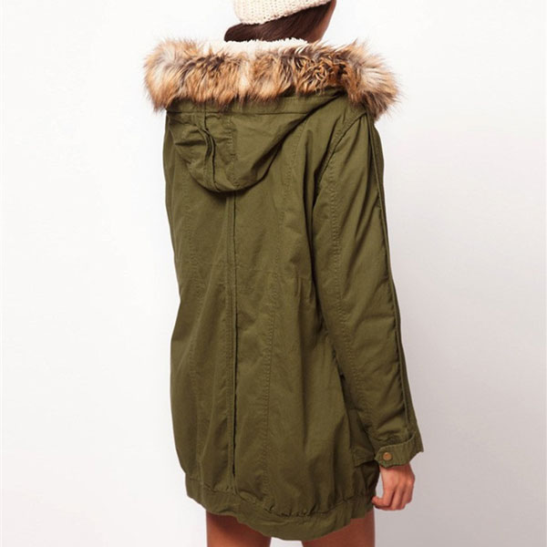 Warm Hooded Drawstring Long Fur Coat