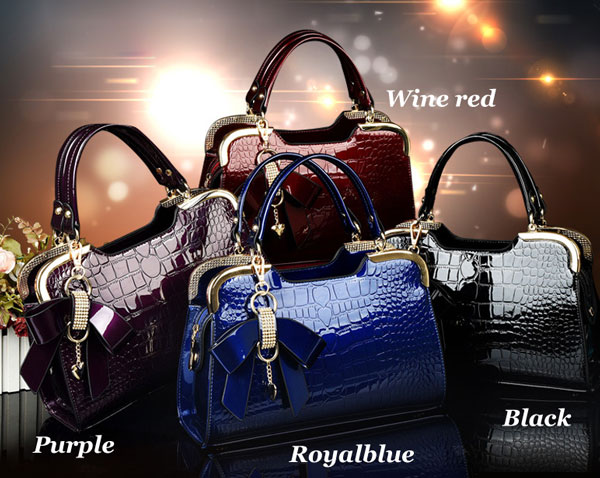 New Bowknot Stone Pattern Lady Handbags