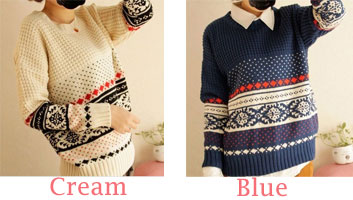fashion  Pattern Weave Neck Sweaters