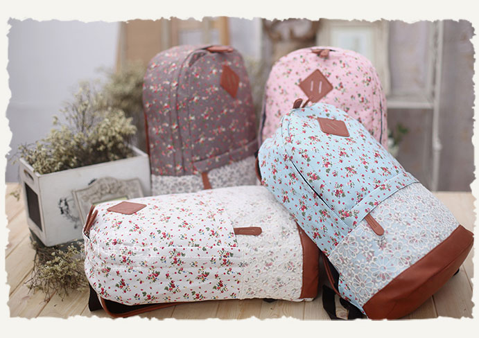 Fashion Pink Floral Print school Lace Backpack