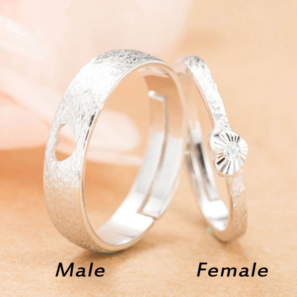 Original Design Love Heart Shaped Brushed Silver Couple Adjustable Rings