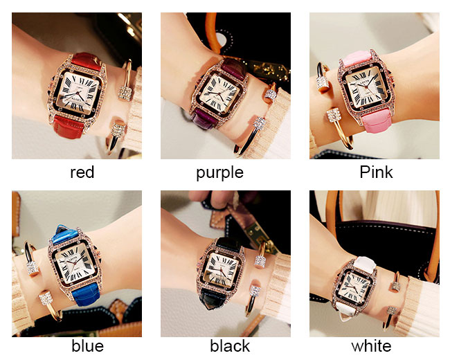 Fashion Shining Square Student Rhinestone Diamond Women Watch