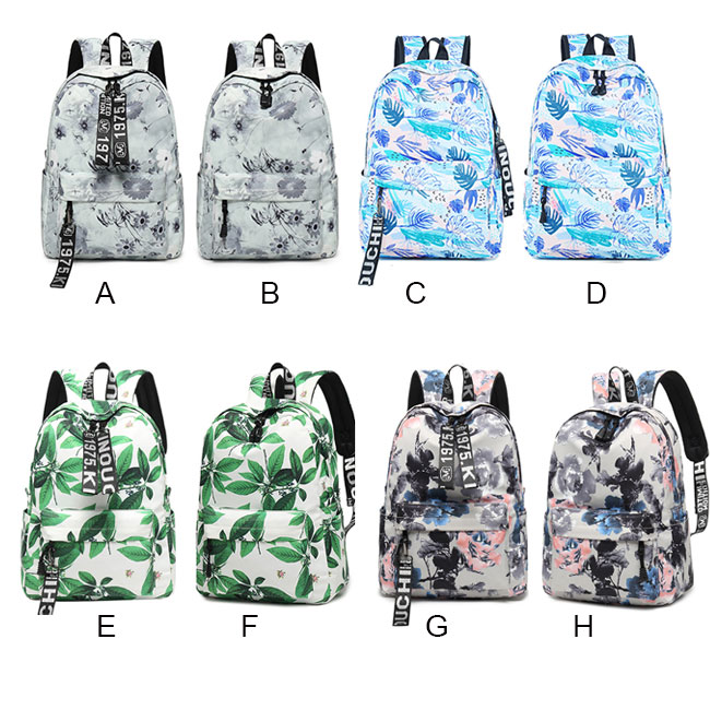 Unique Leaves Flower Ink Style School Rucksack Student Backpack
