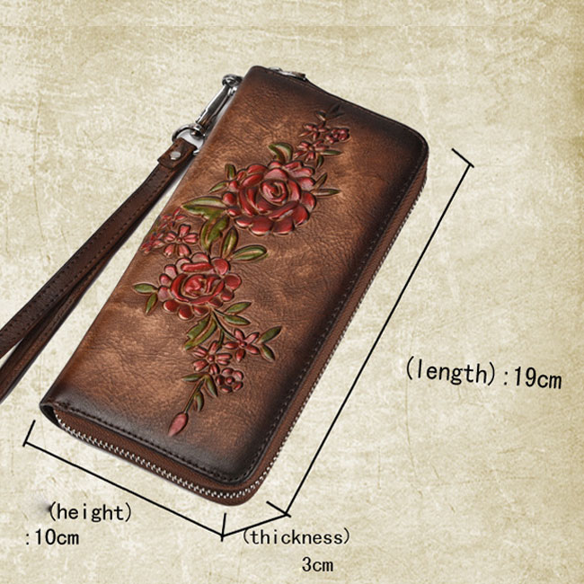 Retro Rose Handmade Original 3D Flower Branch Embossed Wallet Clutch Bag