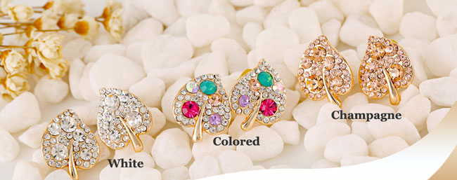 Christmas Gift New Leaf Shape Rhinestone Ear Studs