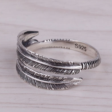 Personalized Feather Opening Ring/Couple Ring