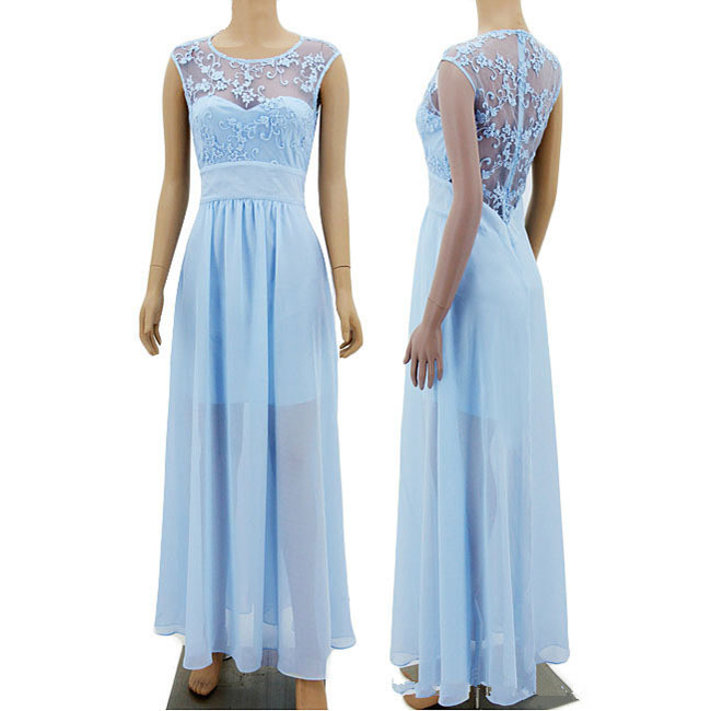 Sexy Long Lace Splicing Chiffon Prom Bridesmaid Wedding Maxi Blue Formal See ThroughParty Dress