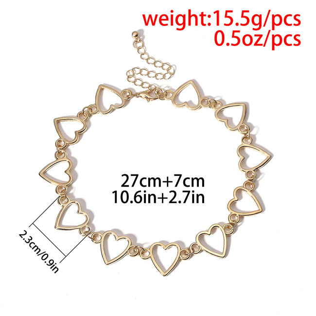 Simple Love Heart Shaped Hollow Chain Personality Romantic Gift Women Necklace