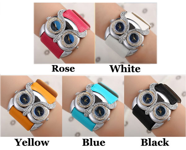 Lovely Owl Inlay Diamond Double Dial Eyes Watch