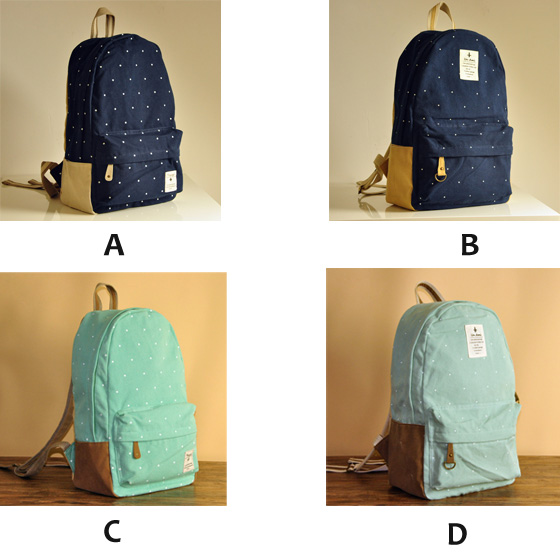 New Lovley Dot Print Canvas Backpacks