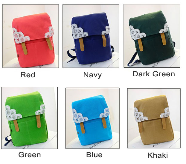 Sweet Crochet Lace Pure Color Canvas Backpack