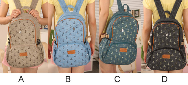 fashion Lovely Leisure Anchor Print Canvas Backpacks