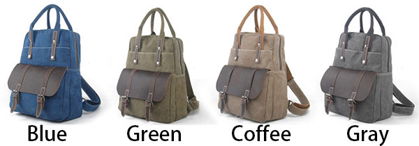 Retro Large Canvas Travel Handbag Backpack Multi-function Leather Briefcase Splicing Rucksack