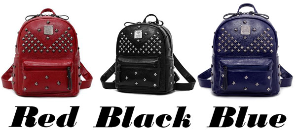 Punk PU Rivets Lichee Pattern School Bag Student Backpacks