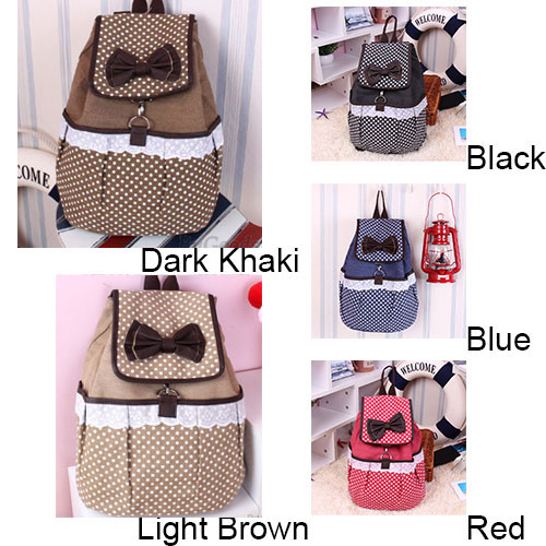 fashion Lovely Polka-dot Bow Lace Canvas Backpack