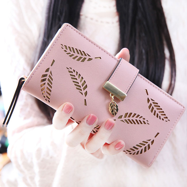 Fresh Leaves Hollow Rectangle Purse Wallet  Card Bag Lady PU Clutch Bag