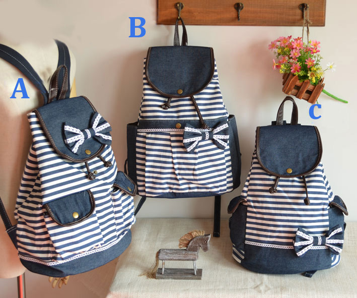 New Navy Bowknot Striped Backpacks