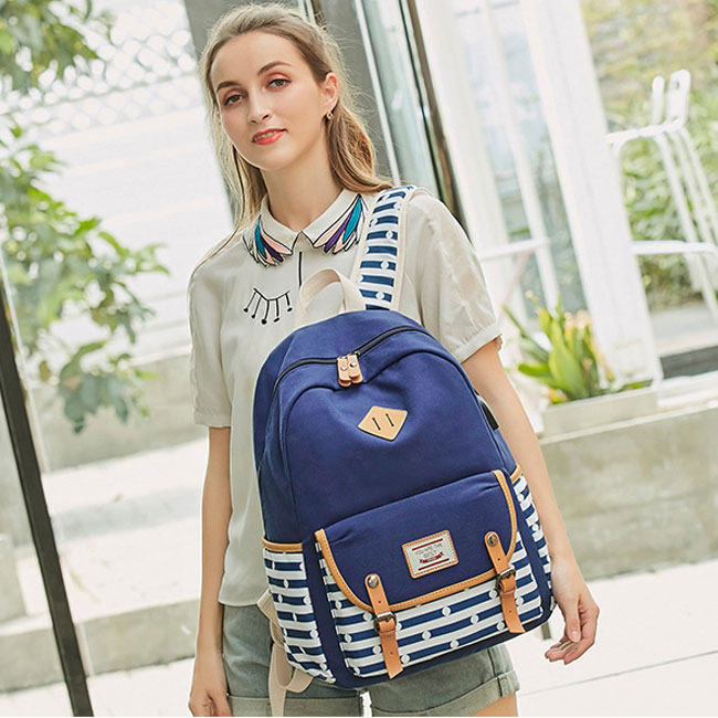 Fresh Stripe High School Bag USB Interface Dot Double Buckle Canvas College Large Backpack