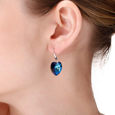 Blue Ocean Heart Crystal 925 Sterling Silver Earrings