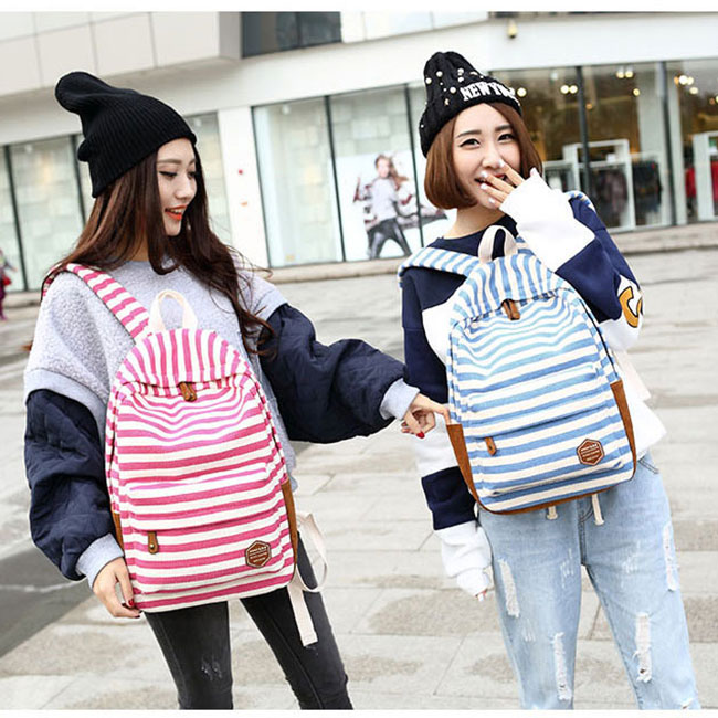 Fashion College Striped Student Rucksack Leisure Travel Canvas Backpack