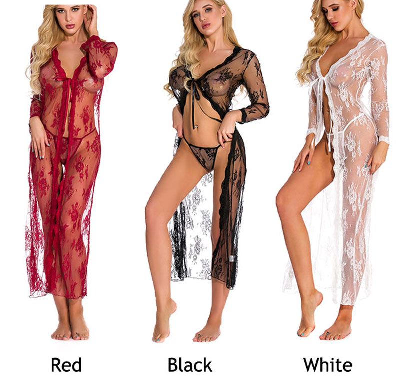 Sexy Long Robe For Women Plus Size Lace Hollow Nightgown Long Sleeve Transparent Nightdress Lingerie