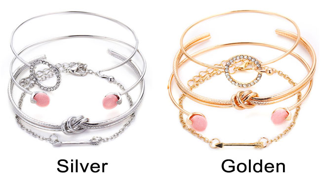 Sweet Simple Personality Knotted Circle Diamond Arrow Four-piece Open Bracelet