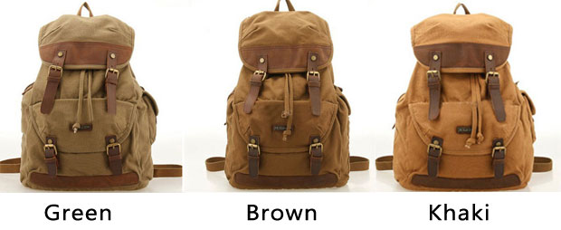 28d7bec85 Vintage Outdoor Hiking Canvas Rucksack Laptop Bag Large Camping Backpack
