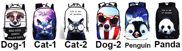 Punk Cute Dog Panda Cat Animals Galaxy Backpack Starry Sky Large Travel Backpack