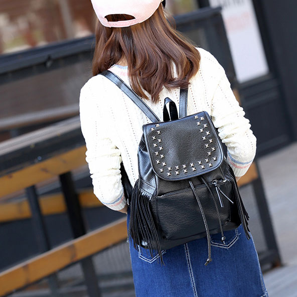 Black Rivets Waterproof PU  Women Casual College Backpack