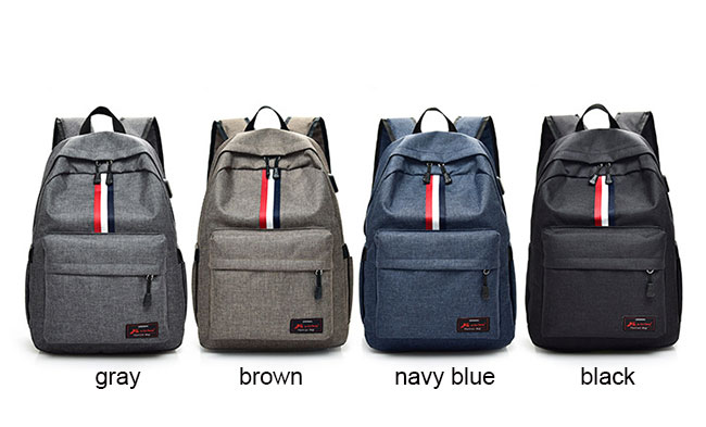 Casual Student Bag Canvas Backpack Red White Black Stripe USB Interface Large Travel Backpack