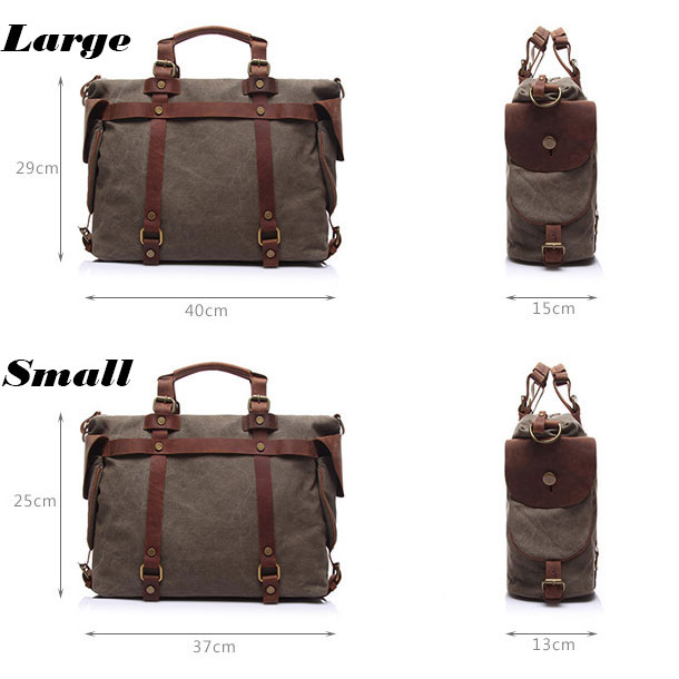 Leisure Men Crossbody Bag Belt Large Retro Splicing Leather Canvas Shoulder Bag