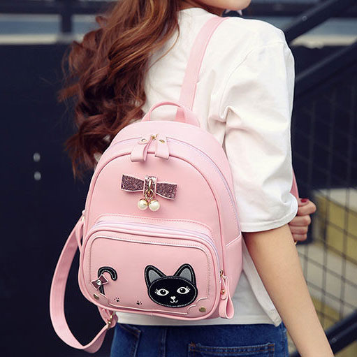 Sweet Girl's Kitten PU Fresh Cute Cat Stereo Bowknot Pearl Pendant School Backpack