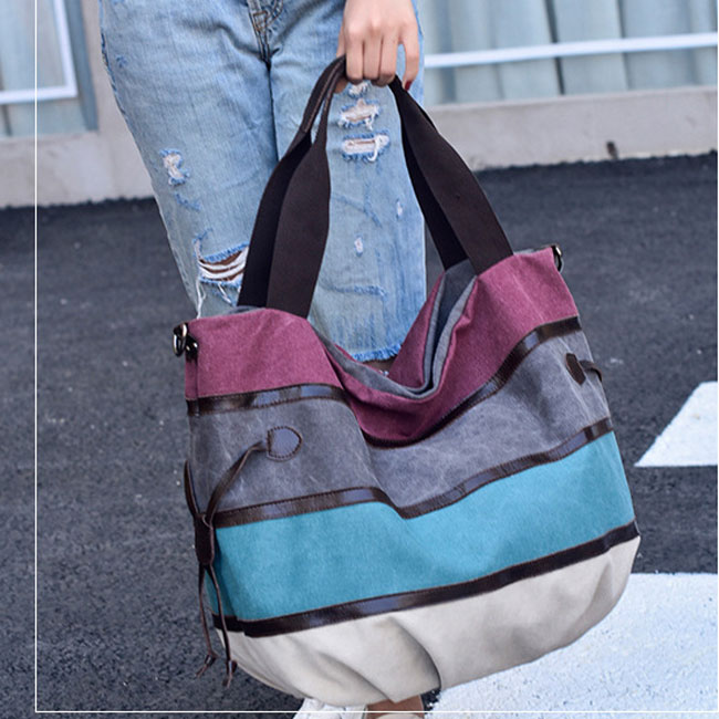 Leisure Large Striped Canvas Shopping Colorful Rainbow Handbag Shoulder Bag