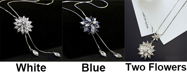 Shining Crystal Rhinestone Stratified Flower Pendant Necklace Sweater Chain Necklace