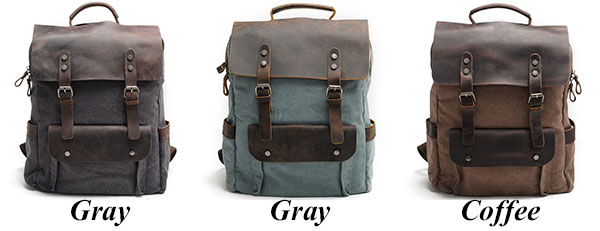Vintage Large Laptop Thick Canvas Travel Rucksack Bag Splicing Leather Outdoor Backpacks